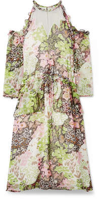 Opening Ceremony Cold-shoulder Embellished Printed Crinkled-chiffon Midi Dress - Pastel pink