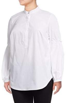 Lauren Ralph Lauren Plus Bishop-Sleeve Cotton Shirt