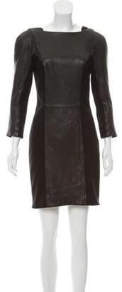 Diane von Furstenberg Leather-Paneled Bodycon Dress