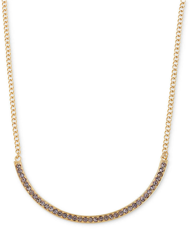 Kenneth Cole New York Necklace, Gold-Tone Pave Crescent Frontal Necklace