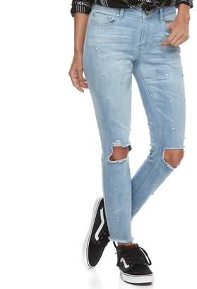 Juniors' Indigo Rein Ripped Knee Ankle Skinny Jeans