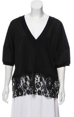 MM6 MAISON MARGIELA Plunging Neckline Short Sleeve Top w/ Tags