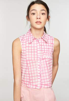 Milly MINIS CHECK PRINT TIE BACK BUTTON UP