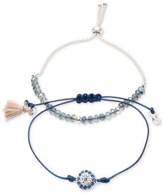 lonna & lilly Silver-Tone 2-Pc. Set Crystal, Bead & Tassel Corded Slider Bracelets