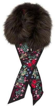 Valentino Silk Fur-Trimmed Scarf w/ Tags