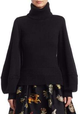 Oscar de la Renta Balloon Sleeve Turtleneck Sweater