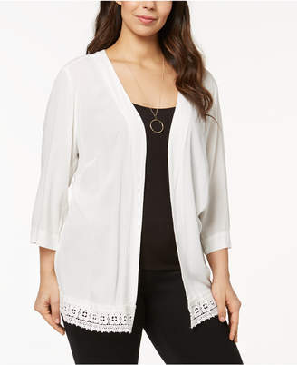 NY Collection Plus Size Crochet-Trim Crepe Cardigan