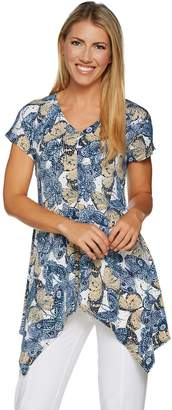 Women With Control Attitudes by Renee Butterfly Print Cap Sleeve Tunic