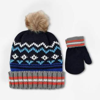 Cat & Jack Baby Boys' Hat And Glove Set Blue Cobalt 12-24M