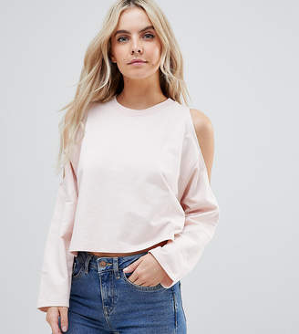 Asos DESIGN Petite Crop Sweat With Cold Shoulder