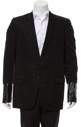 Christian Dior 2002 Long-Line Leather Accent Blazer