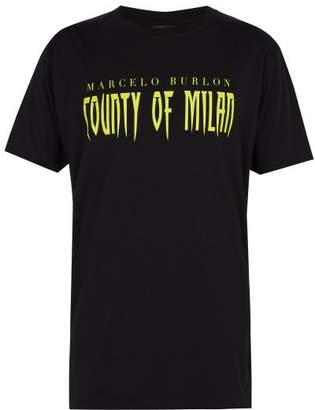 Marcelo Burlon County of Milan Sleepwalker Printed Cotton T Shirt - Mens - Black