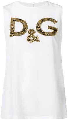 Dolce & Gabbana brocade logo patch tank top