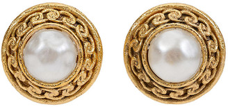 One Kings Lane Vintage Chanel Satin Gold Faux-Pearl Earrings - Vintage Lux