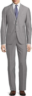 Neiman Marcus Modern-Fit Two-Piece Wool Suit, Light Gray