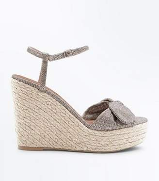 New Look Gold Glitter Bow Strap Straw Wedges