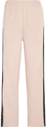 MM6 MAISON MARGIELA Velvet-trimmed Cotton-jersey Track Pants - Pastel pink