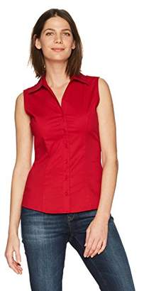Lee Indigo Women's Sleeveless Easy Care Button Front Woven Shirt