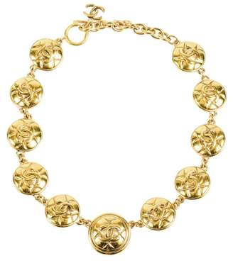Chanel Gold Tone Metal Quilted 'CC' Medallion Coin Link Chain Necklace