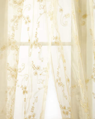 "Sweet Dreams Each Golden Crystal Palace Organza Sheer Curtain, 120""L"