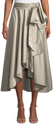 Milly Italian Duchess Taffeta Wrap Skirt