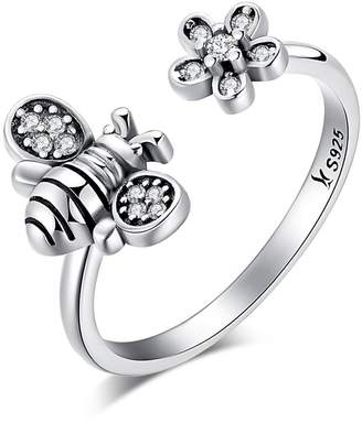 PAHALA 925 Sterling Silver 8 Styles With Crystal Cubic Zirconia Vintage Wedding Engagement Band Ring (Bee)