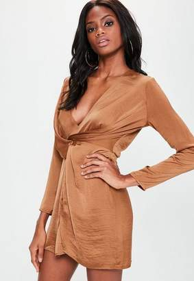 Missguided Copper Silky Plunge Wrap Shift Dress