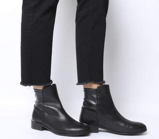 Office Ashby Stretch Panel Flat Boots Black Leather