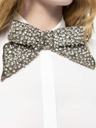 Alice + Olivia WILLA EMBELLISHED BOW PLACKET TOP
