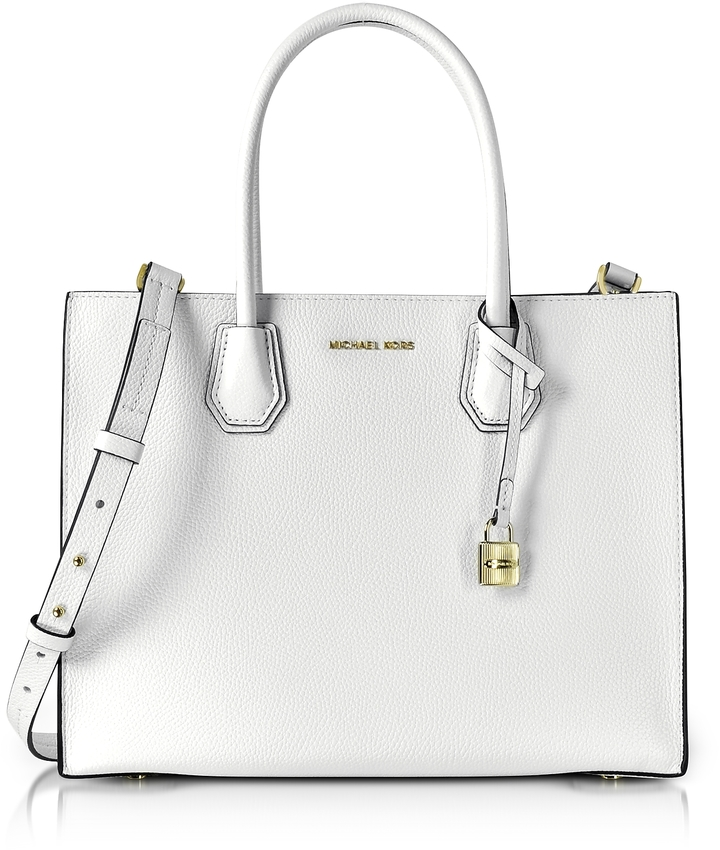 MICHAEL Michael Kors Michael Kors Mercer Large Optic White Pebble Leather Convertible Tote Bag