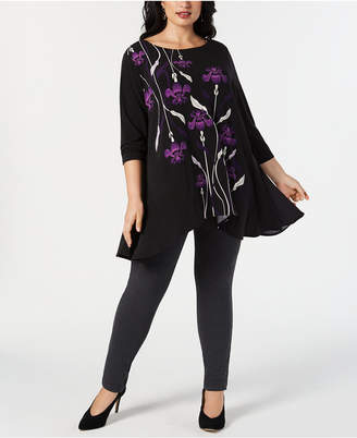 Alfani Plus Printed High-Low Tunic