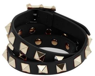 Valentino Rockstud Wraparound Leather Bracelet - Womens - Black