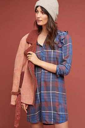 Cloth & Stone Ruffled Plaid Shirtdress