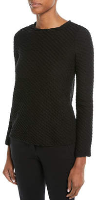 Emporio Armani Long-Sleeve Boucle Wool-Blend Sweater