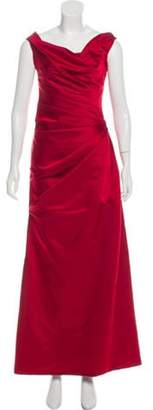 Reem Acra Pleat-Accented Evening Dress Red Pleat-Accented Evening Dress