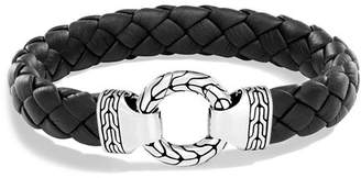 John Hardy Men's Sterling Silver Classic Chain Ring Bracelet with Braided Black Leather