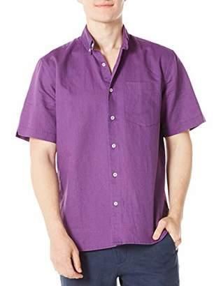 Isle Bay Linens Men's Standard Fit Short Sleeve Solid Linen Cotton Button-Down Shirt