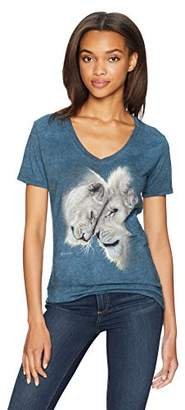 The Mountain Women's Tri-Blend V-Neck White Lions Love T-Shirt