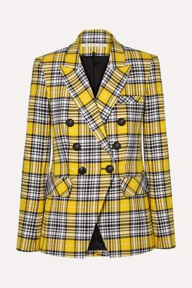 Veronica Beard Miller Dickey Checked Cotton-blend Blazer - Yellow