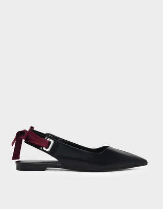 Charles & Keith Lace Up Bow Slingback Flats