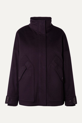 Loro Piana Convertible Leather-trimmed Cashmere And Quilted Shell Coat - Grape