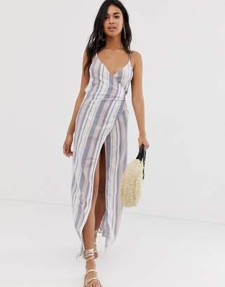 Asos Design DESIGN Woven Stripe V Wrap Maxi Beach Dress