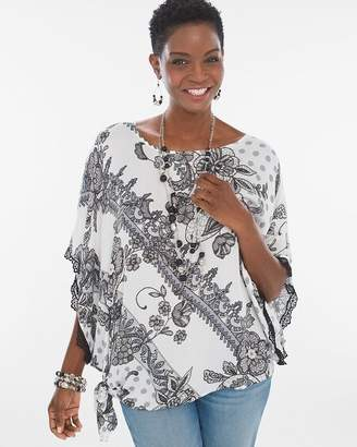 Dotted Lace Side-Tie Poncho