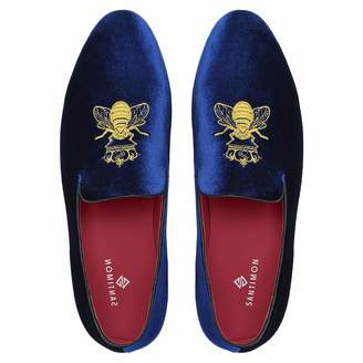 bc562ec543ed Santimon Men Loafers Mocassins Chaussures Homme Velvet Dress Shoes Handmade  Embroidery Wedding Party Smoking Slippers