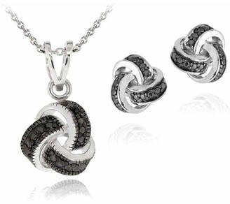 Black Diamond Top Seller Accent Silver-Tone Love Knot Necklace and Earrings Set