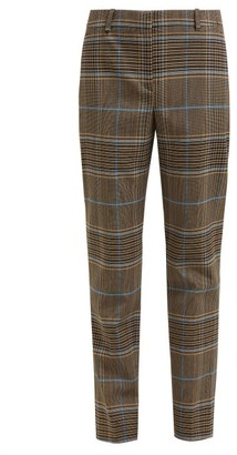 Givenchy High Rise Checked Wool Blend Trousers - Womens - Grey Multi