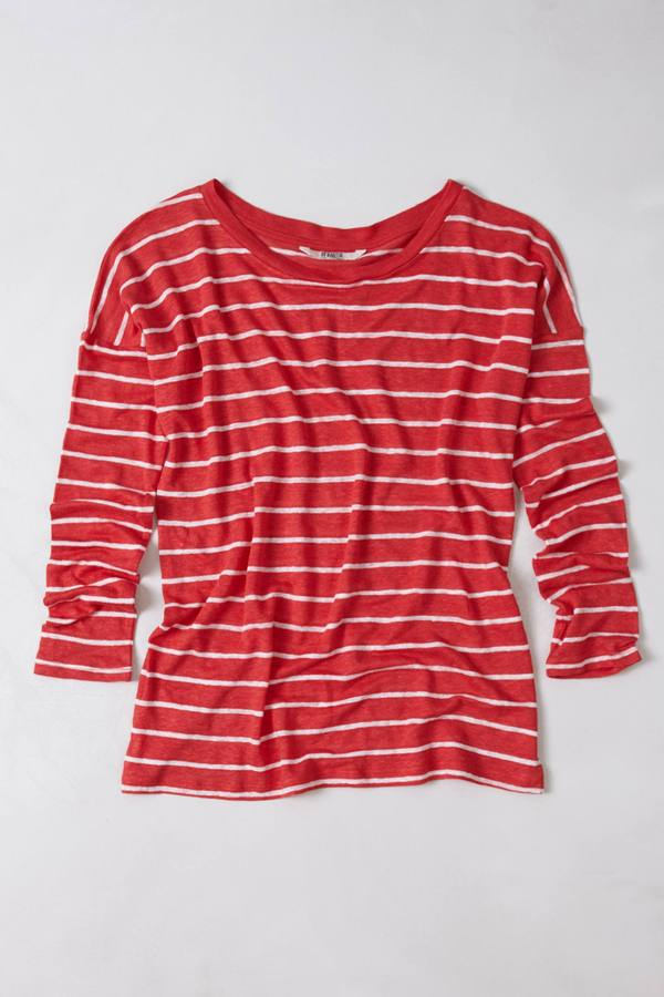 Anthropologie Slim Striped Linen Pullover