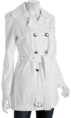 MICHAEL Michael Kors Michael white silver button detail belted trench