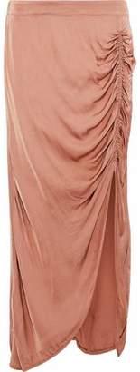 Raquel Allegra Ruched Satin-Jersey Midi Skirt