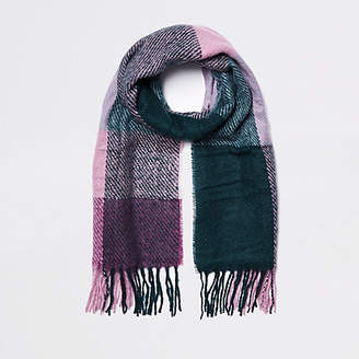 River Island Dark green check scarf